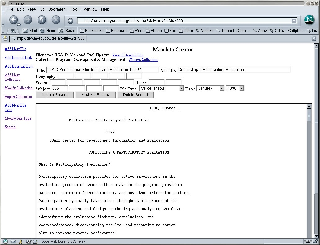 Examples of Practical Digital Libraries: Collections Built