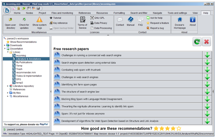 The Architecture and Datasets of Docear's Research Paper Recommender